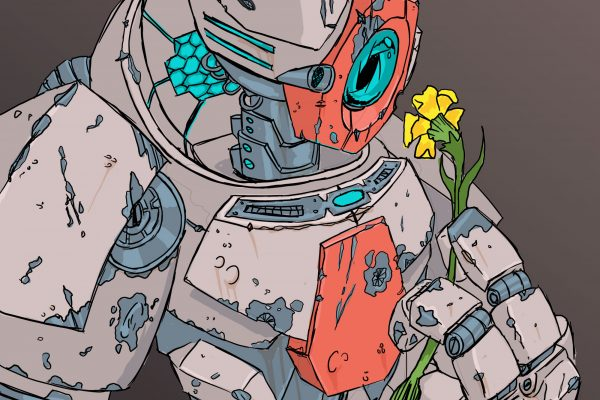 bot - Post apocalyptic robot holding a flower.