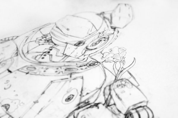 bot2 - Post apocalyptic robot holding a flower.