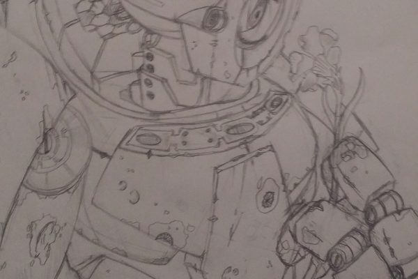 bot3 - Post apocalyptic robot holding a flower.